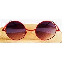Köstebek Kırmızı Çerçeveli Aynalı John Lennon Gözlük