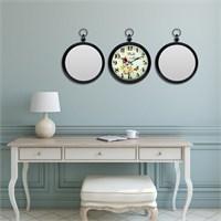 Cadran Home 2'Li Ayna Ve Duvar Saati Set Chas54