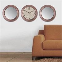 Cadran Home 2'Li Ayna Ve Duvar Saati Set Chas1