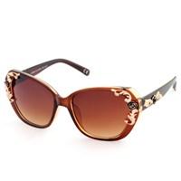 Almera Yeni Sezon Trend Moda Kahve Çiçek Motifli Güneş Gözlüğü 37506