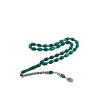 Olivin Accesories Gümüş Püskül Yeşil Sıkma Kehribar Tesbih 610039
