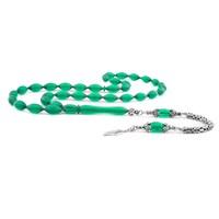 Tesbihane 925 Ayar Gümüş Püsküllü Koyu Yeşil Sıkma Kehribar Tesbih