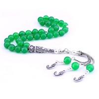 Tesbihane Gümüş Elif Vav İmame-Vav Püsküllü Yeşil Akik Tesbih