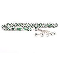Tesbihane 925 Ayar Gümüş Özel Tasarım Yeşil Beyaz Mineli Tesbih