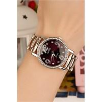 Morvizyon Clariss Marka Metal Kaplama Kasa Koyu Mor İç Tasarımlı Bayan Saat