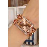 Morvizyon Clariss Marka Rose Metal Kordon Tasarımlı İç Tasarımı Rose Bayan Saat Modeli