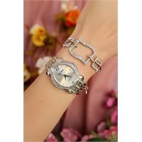 Morvizyon Gümüş Kaplama Yeni Tasarım Bayan Saat Ve Bileklik Kombini