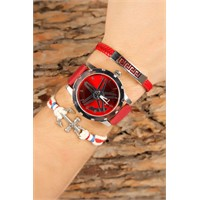 Morvizyon Kırmızı Deri Kordonlu Gri Metal Kasa Erkek Saat Ve Deri Bileklik Kombini