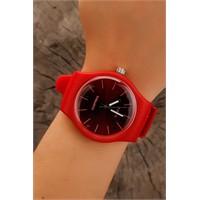 Morvizyon Kırmızı Silikon Tasarım Bayan Saat