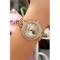 Morvizyon Sarı Kaplama İç Tasarımı Roma Rakamlı Bayan Saat