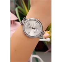 Morvizyon Gümüş Kaplama Zirkon Parlak Taşlı Bayan Saat
