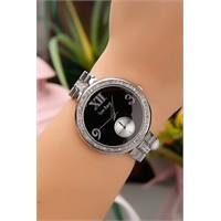 Morvizyon Gümüş Kaplama Kristal Taş İşlemeli Metal Kordonlu Bayan Saat