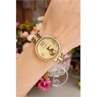 Morvizyon Sarı Kaplama Roma Rakamlı Bayan Saat