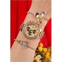 Morvizyon Sarı Kaplama Metal Kordonlu Bayan Saat Ve Bileklik Kombini
