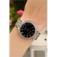 Morvizyon Gümüş Kaplama Metal Kordonlu İç Tasarımı Siyah Bayan Saat Modeli
