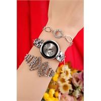 Morvizyon Gümüş Kaplama Metal Kordonlu İç Detayı Kalpli Bayan Saat Ve Bileklik Kombini