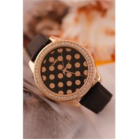 Morvizyon Clariss Marka Bronz Kaplama Parlak Taşlı Bayan Saat