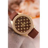 Morvizyon Clariss Marka Sarı Taşlı Kaplama Kasa Kahverengi Deri Kordonlu Bayan Saat