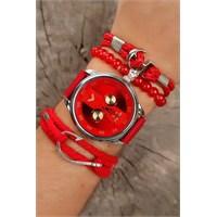 Morvizyon Kırmızı Kot Kordon Tasarımlı Gri Metal Kasa Erkek Saat Ve Bileklik Kombini