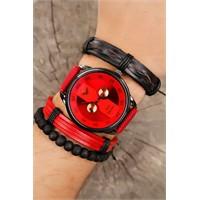 Morvizyon Kırmızı Kot Kordon Tasarımlı Füme Metal Kasa Erkek Saat Ve Bileklik Kombini