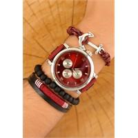 Morvizyon Kırmızı Kordon Tasarımlı Gri Metal Kasa Erkek Saat Ve Bileklik Kombini
