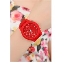 Morvizyon Kırmızı Silikon Kordon Tasarımlı Beyaz İç Detaylı Bayan Saat Modeli