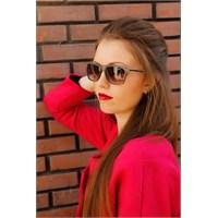 Morvizyon Clariss Marka Şeffaf Kahverengi Çerçeve Tasarımlı Bayan Güneş Gözlük Modeli
