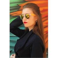 Morvizyon Clariss Marka Renkli Cam Tasarımlı Turuncu Detaylı Şık Bayan Güneş Gözlük Modeli