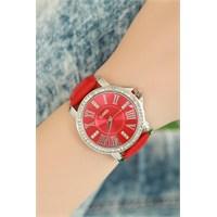 Morvizyon Clariss Marka Kırmızı Deri Kordonlu Bayan Saat