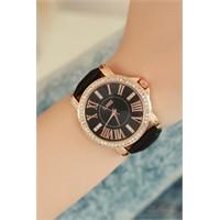 Morvizyon Clariss Marka Bronz Kasa Parlak Taşlı Bayan Saat