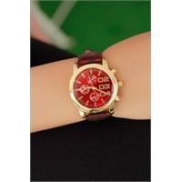 Morvizyon Clariss Marka Sarı Simli Çatlak Deri Model Kordon Bayan Saat