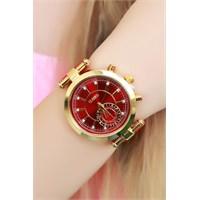 Morvizyon Clariss Marka Kırmızı Süet Deri Kordonlu Sarı Kaplama Bayan Saat