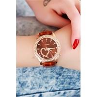 Morvizyon Clariss Marka Kahverengi Çatlak Deri Tasarımlı Bayan Saat