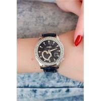 Morvizyon Clariss Marka Koyu Lacivert Çatlak Deri Kordon Tasarımlı Bayan Saat