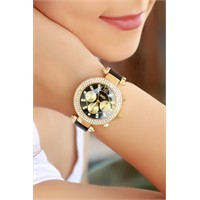 Morvizyon Clariss Marka Sarı Kapamlama Metal Tasarım Bayan Saat