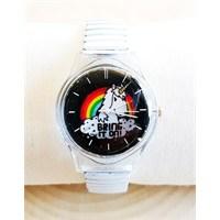 Köstebek Lastikli Beyaz Kordon Bring It On - Unicorn Kol Saati Ks289
