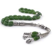 Tesbihane İmamesi Gümüş Tuğra - Arma - 1453 Püsküllü Yeşil Akik Doğaltaş Tesbih