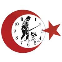 Galaxy Ay Yıldız Duvar Saati Atatürk
