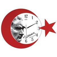 Galaxy Ay Yıldız Duvar Saati Atatürk Portre