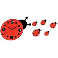 Galaxy Dekoratif Uğur Böceği Duvar Saati Kırmızı Siyah
