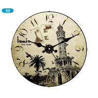Galaxy Bombeli Cam Duvar Saati Vintage İzmir Saat Kulesi