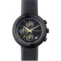 HYGGE 2312 Volcanical Chrono Leather Black Unisex Kol Saati