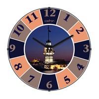 Cadran 110-10 Bombeli Cam Duvar Saati Kız Kulesi Dilimli