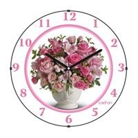 Cadran 110-21 Bombeli Cam Duvar Saati Pembe Çiçekler