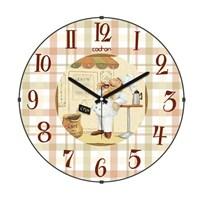 Cadran 180-13 Mutfak Bombeli Cam Duvar Saati Ekose Aşçı