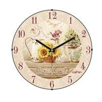 Cadran 140-26 Retro Vintage Bombeli Cam Duvar Saati Ay Çiçeği
