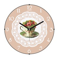 Cadran 160-2 Dantel Desenli Bombeli Cam Duvar Saati Çiçek Fincan