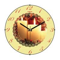 Cadran 160-3 Dantel Desenli Bombeli Cam Duvar Saati Mumlar
