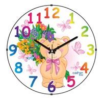 Cadran 150-8 Kids Bombeli Cam Duvar Saati Ayıcık