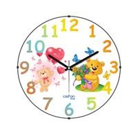Cadran 150-9 Kids Bombeli Cam Duvar Saati Ayıcıklar Kelebek